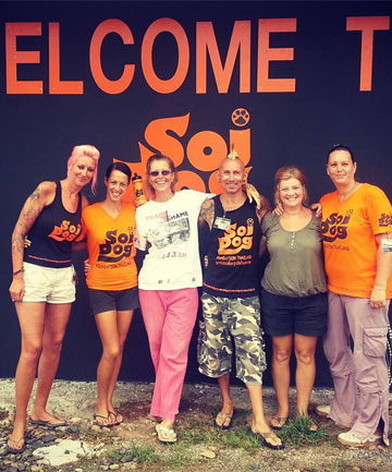 ANIMAL WELFARE: Baker, second from left, with good friends who work and volunteer at Soi Dog.