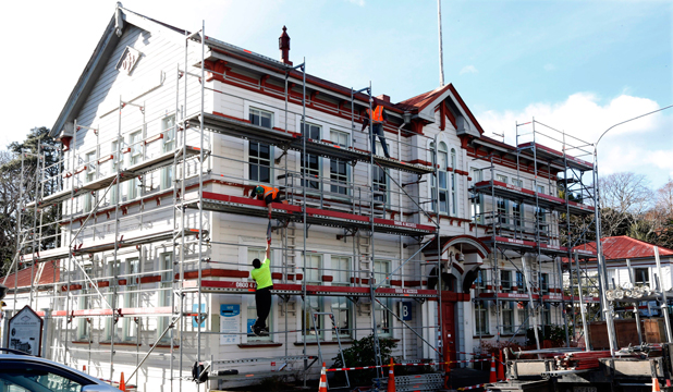 UP IT GOES: Advanced Access Solutions put scaffolding up on the Nelson Marlborough Institute of Technology B Block building.