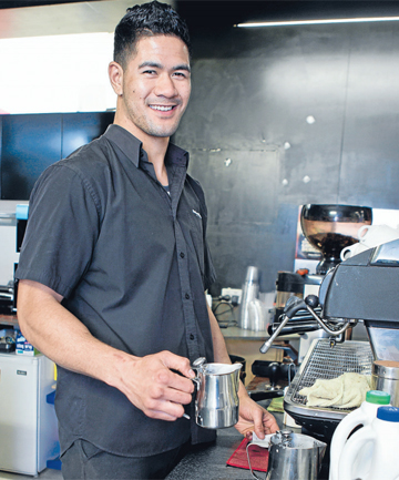 FULL OF BEANS: 'Crash and bash' Makos man Jeff Lepa at his other job, creating coffee.