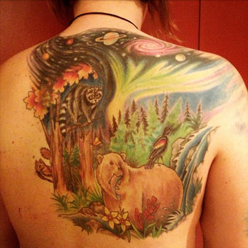 Krystal Smith's back tattoo in tribute to the Canadian wilderness