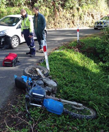 A motorcyclist was lucky to survive a crash near the Mangahao settlement on Wednesday.