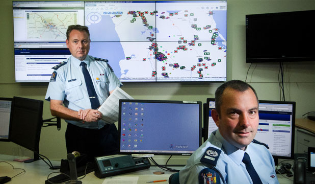 CRIME SCIENCE: Waikato district deployment manager Inspector Jeff Penno and Senior Sergeant Rupert Friend with some of the tools of the Prevention First policing system.