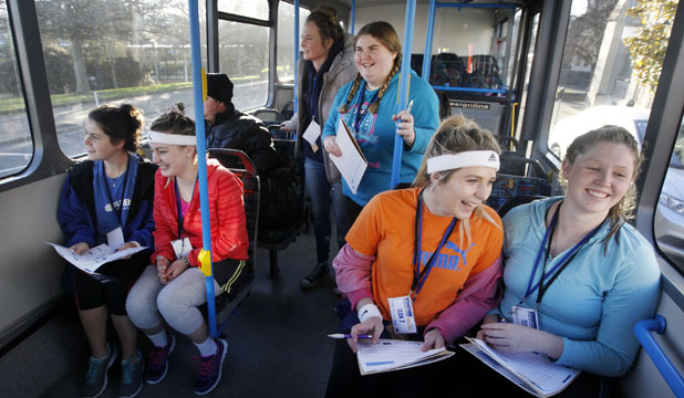 BUS RACERS: Spotting answers to scavenger hunt questions are, Simone Bruce, left, Katie Jacobs, Ruby Hynes, Caitlin Dyball, Darian Walding and Zara McLellan.