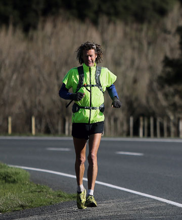 RUNNER'S HIGH: Eltham man Grant ''Curly'' Jacobs, 53, plans to beat the 40-year-old record for running the length of New Zealand in March next year.