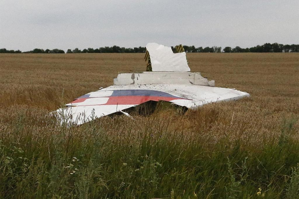 Part of the wreckage of a Malaysia Airlines Boeing 777 is seen after it crashed near the settlement of Grabovo in the Donetsk region.