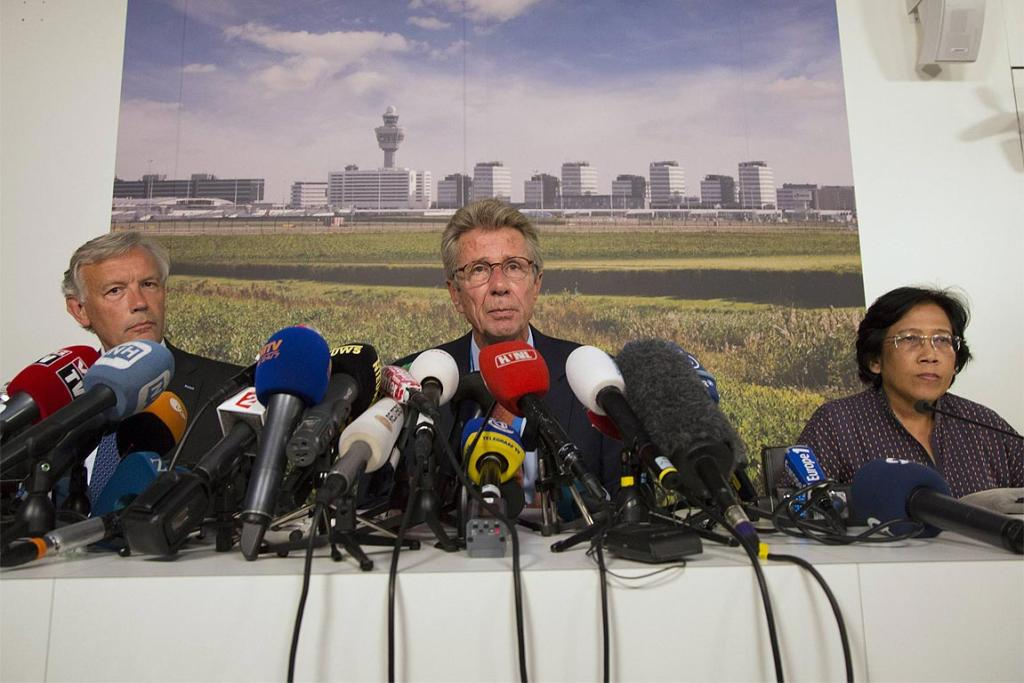 Schiphol Chief Executive Jos Nijhuis, Malaysia Airlines Senior Vice President Huib Gorter (middle) and Malaysia's ambassador to the Netherlands Fauziah Binti Mohd Taib at a news conference on flight MH17 at Schiphol Airport.