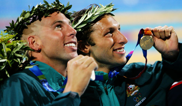 WINNING MATES: Australia swimmers Grant Hackett and Ian Thorpe celebrate Olympic success at Athens 2004.