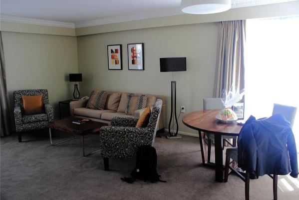 The lounge of the hotel suite we stayed in.