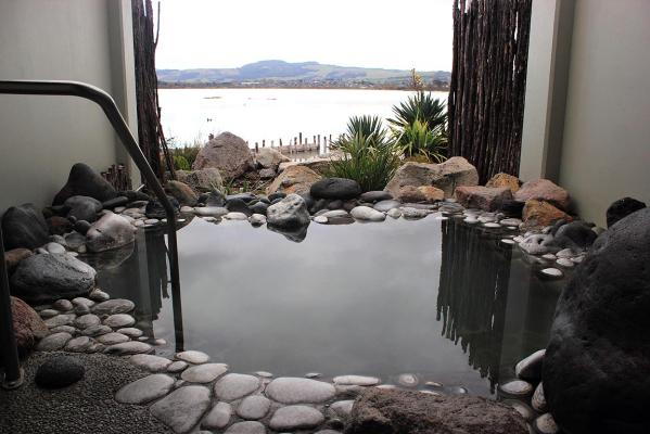 One of the private pools overlooking Lake Rotorua, Polynesian Spa.