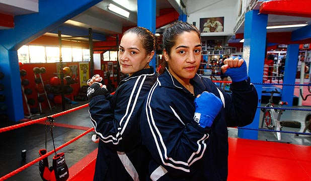 FIERCE SISTERS: Caroline Daniels, left, and sister Lani are rising through the boxing ranks.