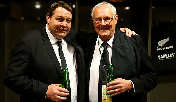 HAPPY TIMES: All Blacks coach Steve Hansen, left, and NZRU chairman Mike Eagle celebrate in the dressing room following the win over Ireland in Dublin last year.