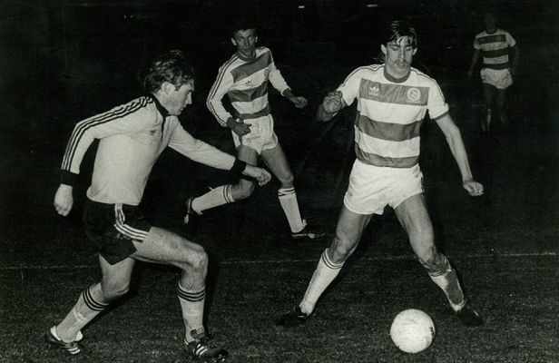 TOP CLASS GAME: Dave Burgess (left) plays against Queen's Park Rangers for the Wellington Invitation XI (24 May, 1983)
