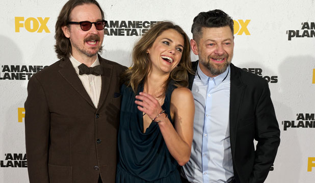 NEITHER DEFT NOR UNDERSTATED: Dawn of the Planet of the Apes director, Matt Reeves, with stars Keri Russell and Andy Serkis.