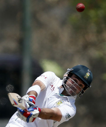 CAUGHT OUT: First innings centurion Dean Elgar was caught behind off Sri Lanka's Rangana Herath for 12.