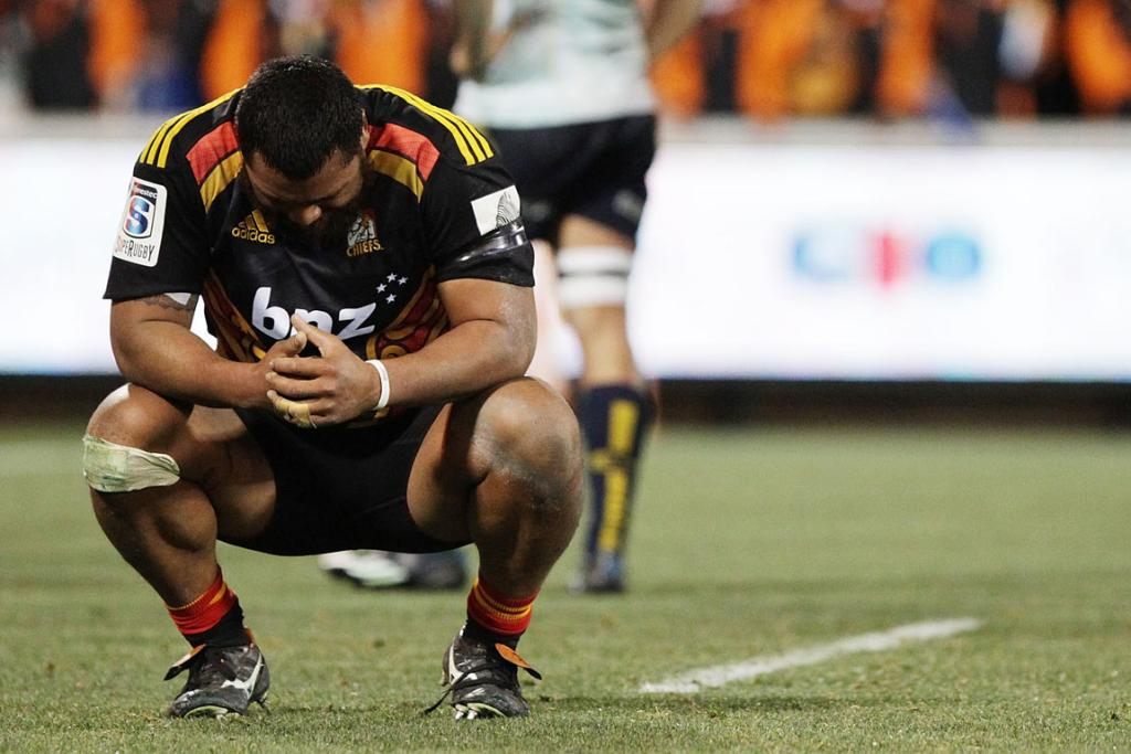 Pauliasi Manu illustrates the Chiefs' disappointment at the final whistle.