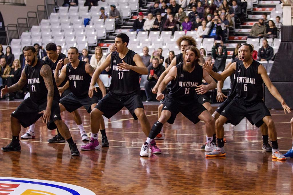 The Tall Blacks perform the haka before Game 3 at the NSEC.