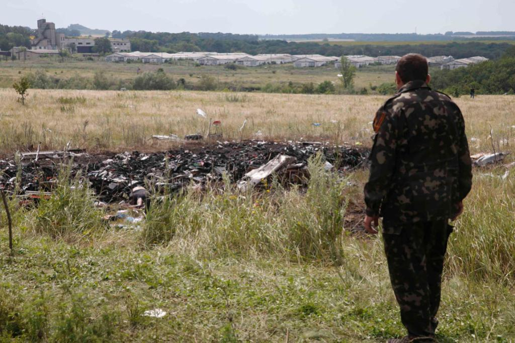 A pro-Russian separatist stands at the crash site of MH17 near the settlement of Grabovo in Ukraine's Donetsk region.
