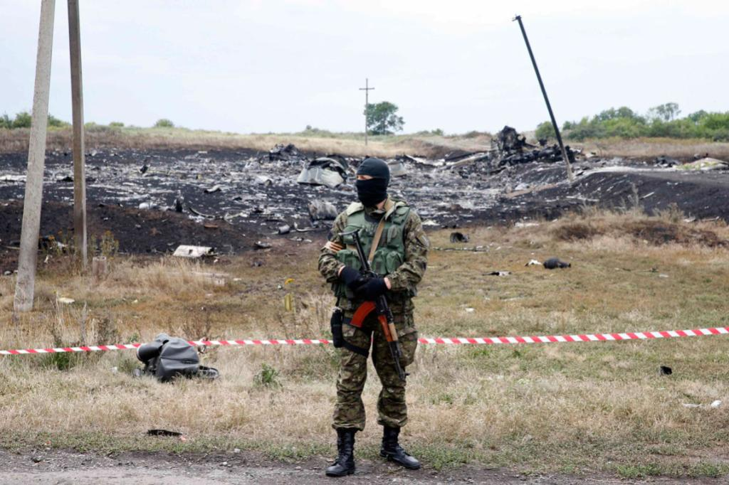 A pro-Russian separatist stands at the crash site of Malaysia Airlines Flight MH17, near the settlement of Grabovo in Ukraine's Donetsk region.