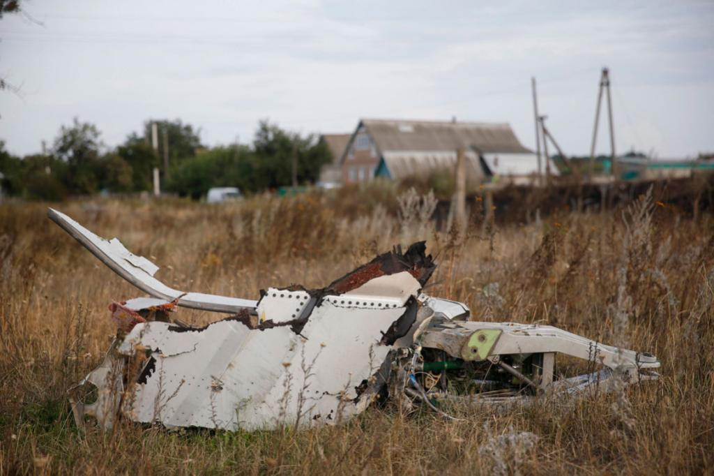 Wreckage is pictured at the crash site of Malaysia Airlines Flight MH17, near the Ukraine settlement of Grabovo.