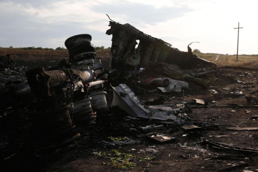 Wreckage is pictured at the crash site of Malaysia Airlines Flight MH17, near the Ukraine settlement of Grabovo in the Donetsk region.