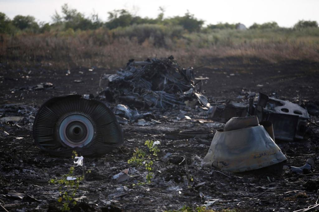 Malaysia Airlines Flight MH17 wreckage near the Ukraine settlement of Grabovo.