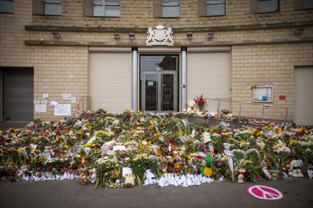 Flowers, candles and other tributes in front of the Netherlands embassy in Kiev, Ukraine, in memory of the victims of Malaysia Airlines flight MH17.