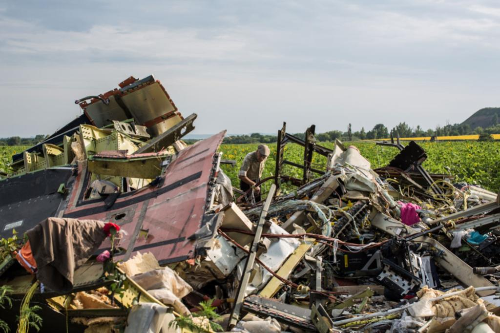 A man looks at debris from Malaysia Airlines flight MH17 which landed in a field of sunflowers in Rassipnoye, Ukraine.