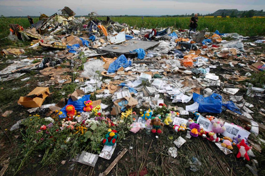 Flowers and mementos are left for the victims of the plane crash.