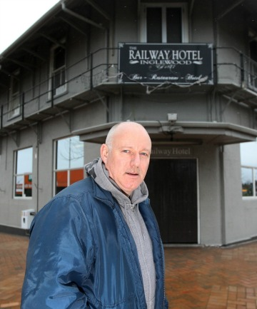 Owner Mike Smart by Inglewood's Railway Hotel,