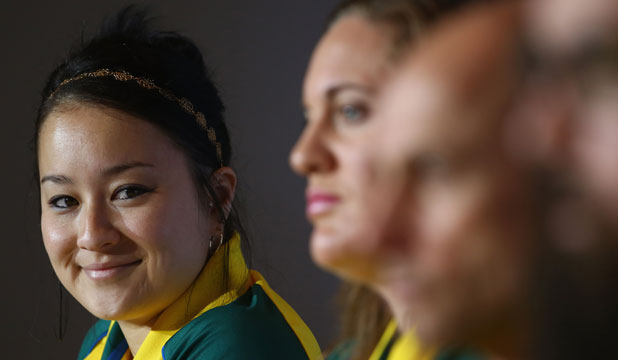 DETERMINED: Erika Ropati-Frost speaks to the media in Glasgow on Sunday.