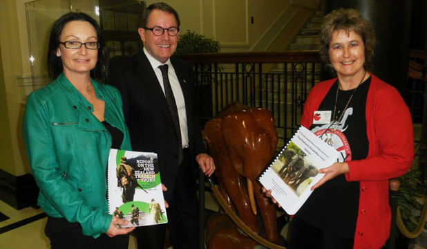 ELEPHANT SOS: Virginia Woolf, left, with policy analyst Fiona Gordon who together worked with now former MP John Banks to make people aware of the plight of elephants by organising a petition and a compr4ehensive report.