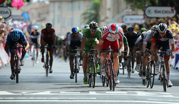 SPRINT TO THE LINE: New Zealand's Jack Bauer (left) was overtaken in the last 50m of Tour de France stage 15.