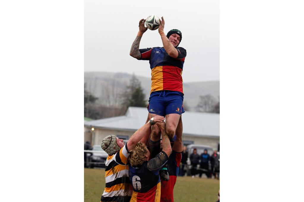 Harlequins Gareth Holden in a lineout at Strathconan Park in Fairlie during the Hammersley Cup semifinal.