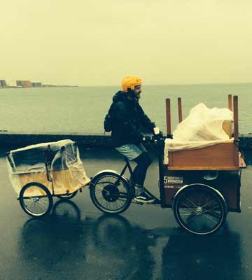 PEDAL POWER: Moving across the Wellington waterfront.