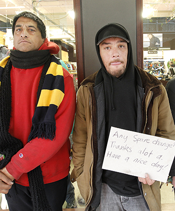 STREET APPEAL: Ricki Buddy Tua, nephew Roi Gurdy and Jason Moore (not pictured) say they all rely on money dropped in their hats by strangers to survive.