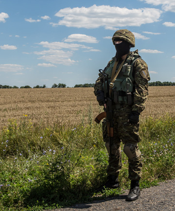 Guard near the MH17 crash site