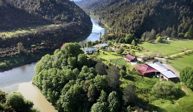 Looking from Blue Duck Station across to Richard and Rache Steele's farm, Retaruke Station, at the confluence of the Retaruke and Whanganui Rivers.