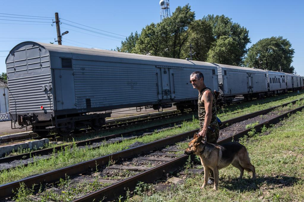 A pro-Russia rebel guards a train containing the bodies of victims of the Malaysia Airlines crash.