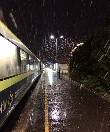 CHILLY START: Snow falls at Masterton railway station early this morning.