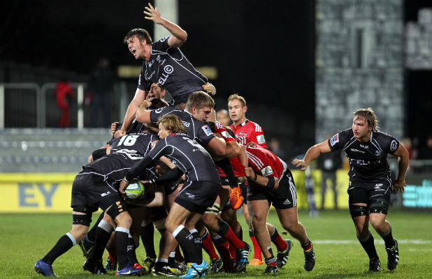 ROLLING ON: Sharks lock Stephan Lewies (centre) calls out to referee Rohan Hoffman as he gets hoisted in this driving maul against the Crusaders in mid-May at AMI Stadium.