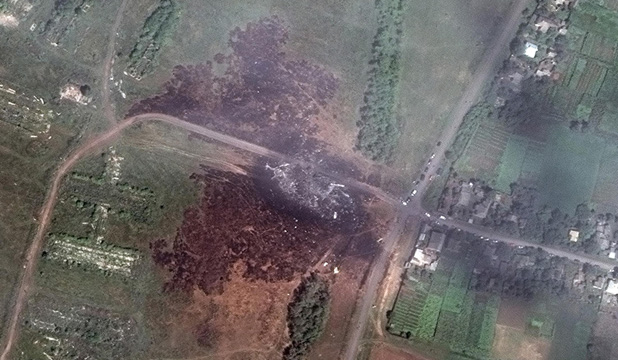 Satellite image of MH17 crash site in Ukraine