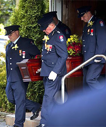 GOODBYE: A line of uniformed firefighters stood to attention as the casket of Manawatu man Ross Milton Turner, 65, was carried in to a full congregation at Palmerston North's LifeChurch yesterday.
