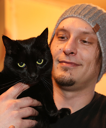 Jason Hill and Pauline the cat