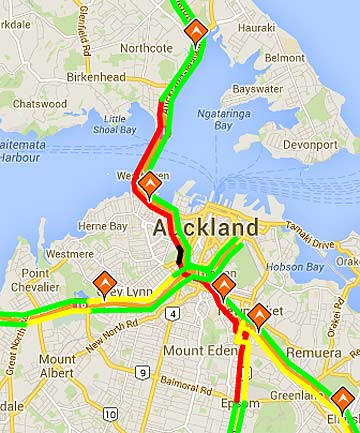 HEAVY TRAFFIC: Image showing motorway at Saint Marys Bay. Traffic heavy due to a crash on the Harbour Bridge.