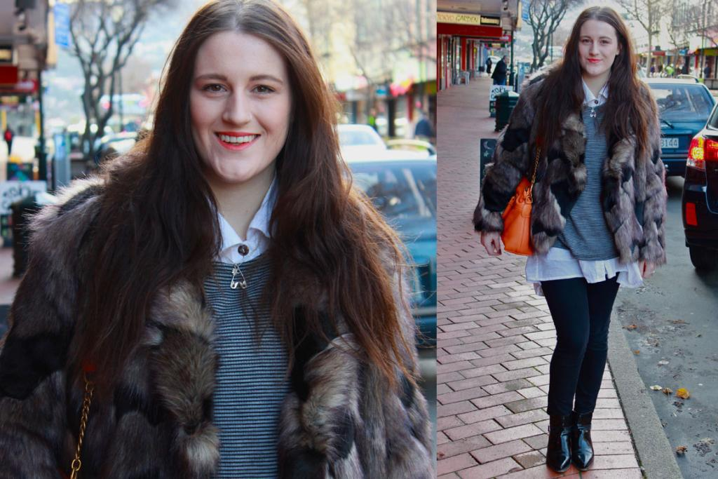 Snapped on George St in Dunedin, Jess wears a luxurious Kate Sylvester Coat, Dr Denim jeans, a bright Deadly Ponies bag and Top Shop boots.