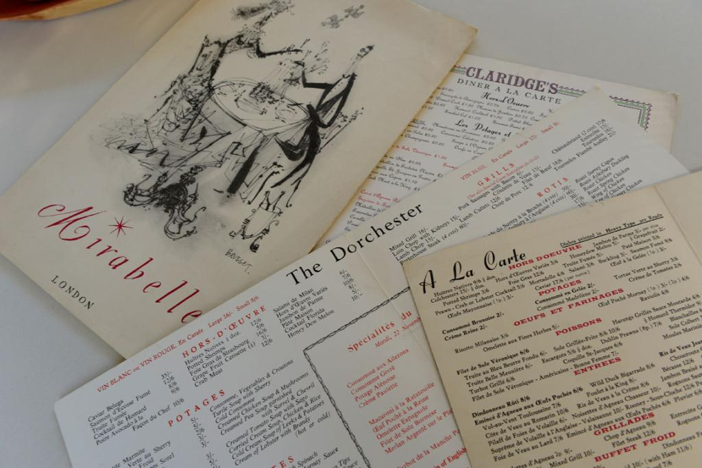 INSPIRATION: Menus Gary has collected from famous restaurants around the world.