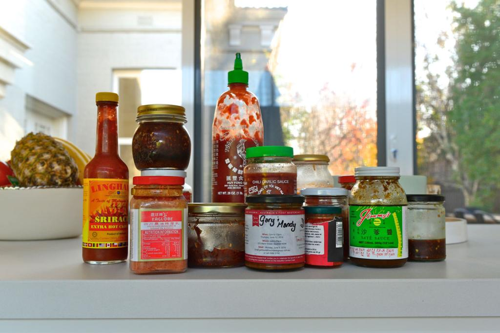 THE STAPLES: Gary keeps his fridge well-stocked with chilli sauce.