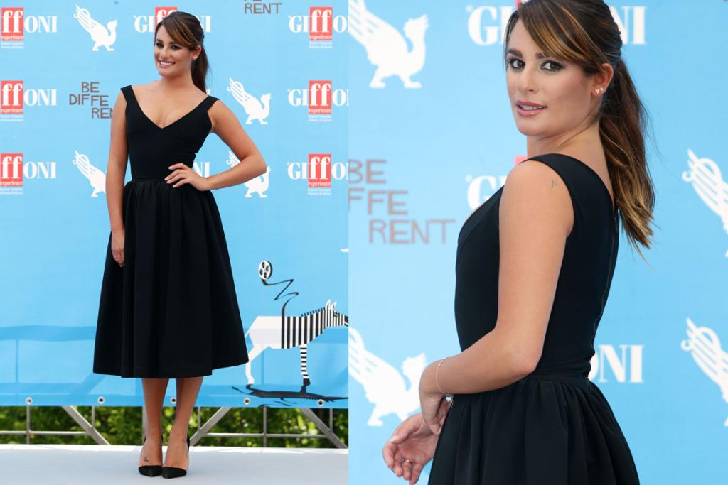 THE GOOD: Lea Michele is a huge fan of all things bodycon and mini, and so this 1950s-style Preen dress is a very different look for her: a welcome change. I also really adore the angular lines on these Jean Michel Cazabat shoes. Win, win.