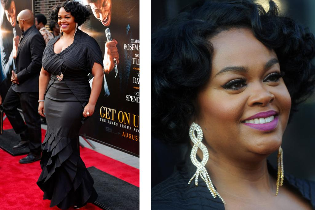 THE GOOD: Amazing singer Jill Scott, 42 - who's currently starring in James Brown's biopic Get On Up - smashes it out the park in this Tadashi Shoji gown and Issey Miyake cover up. This could look frumpy on many, but Ms Scott has the attitude and elegance to pull it off. Oh, and that lippie is smashing.