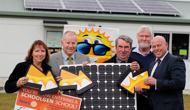 PANEL POWER: Celebrating Geraldine Primary School's new solar panels are, from left, Schoolgen team leader Maggie Twaddle, principal Andrew Leverton, Temuka-Geraldine Rotary Club president Gerald Pemberton, former president Ernie Heatlie and Timaru Mayor Damon Odey.